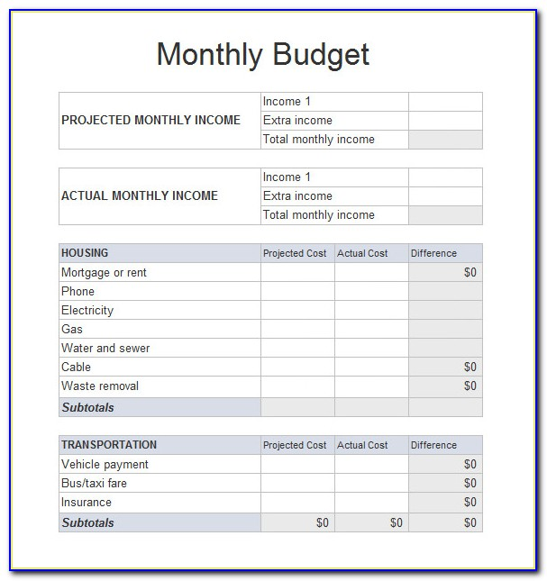 Household Budget Planner Template Free