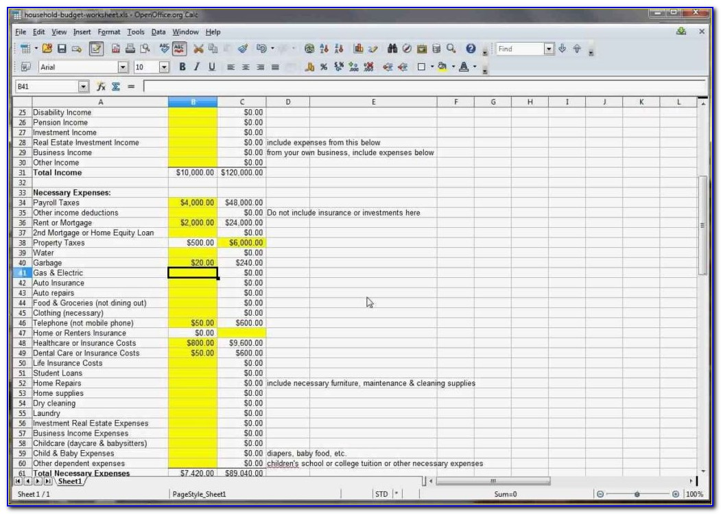 Household Budget Template Excel Ireland