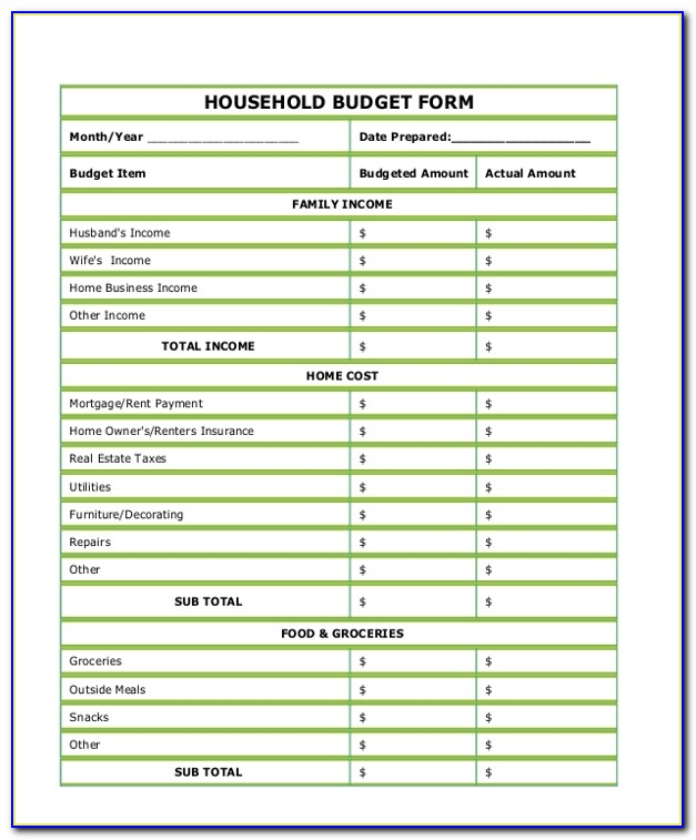Household Budget Template Printable Excel