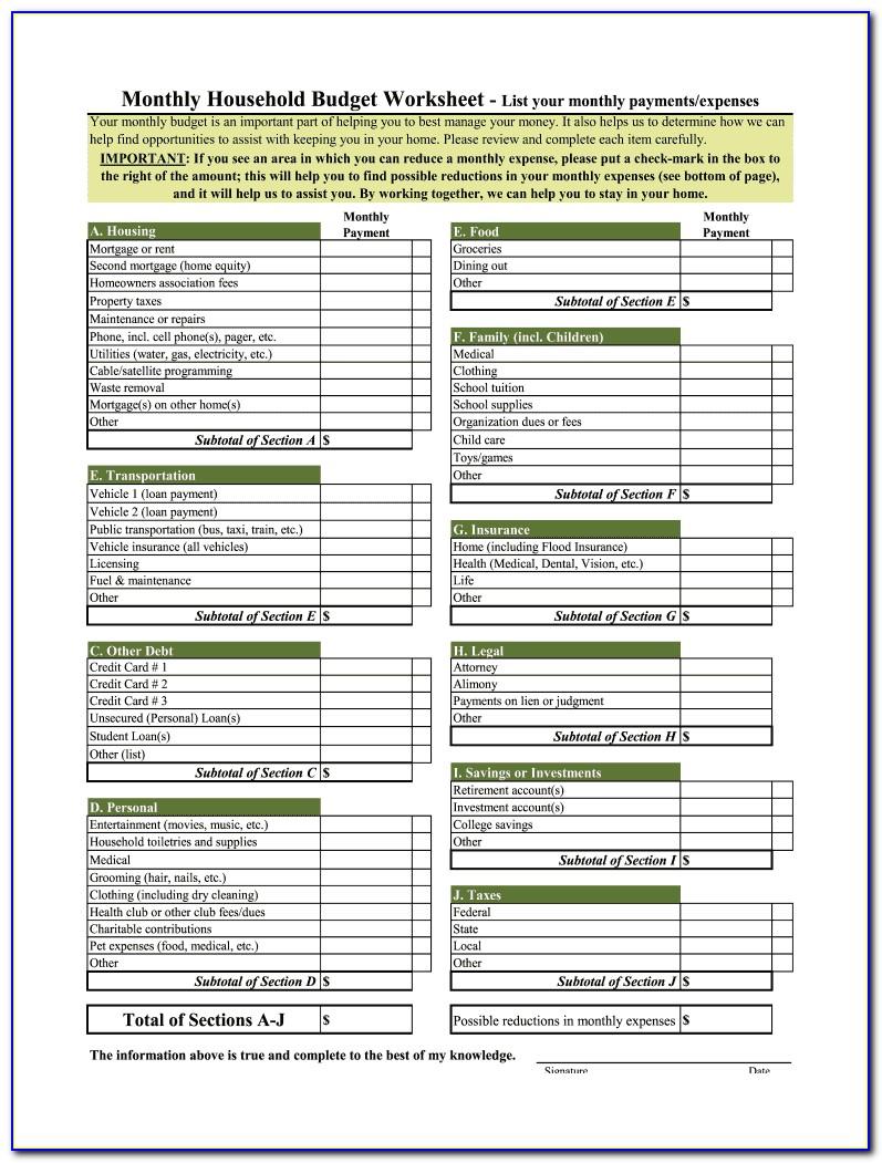 Household Budget Template Printable Free