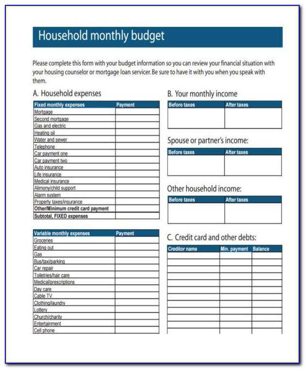 Household Budget Template Printable Pdf