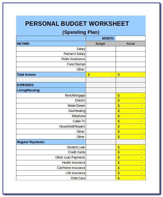 Household Budget Template Xls