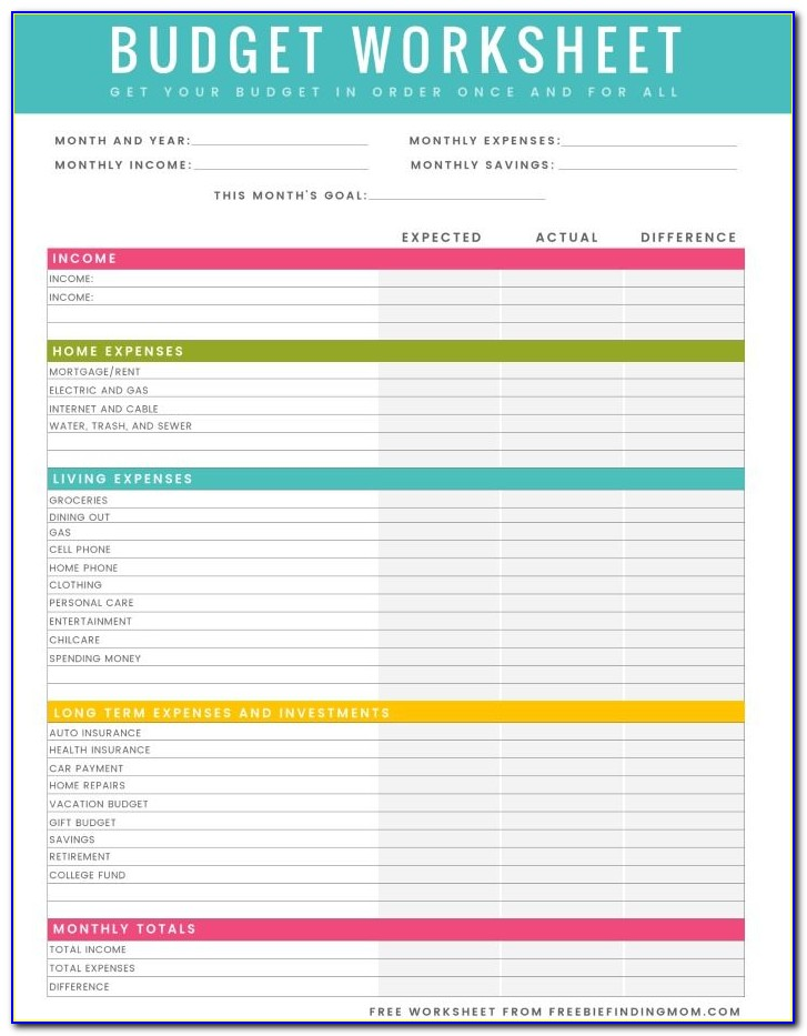 Household Budget Templates Pdf