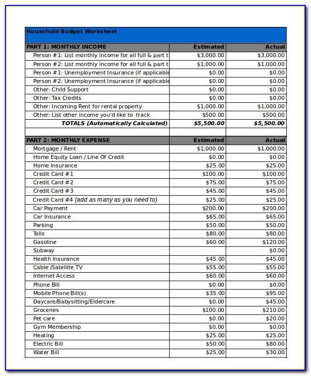 Household Budget Worksheet Template