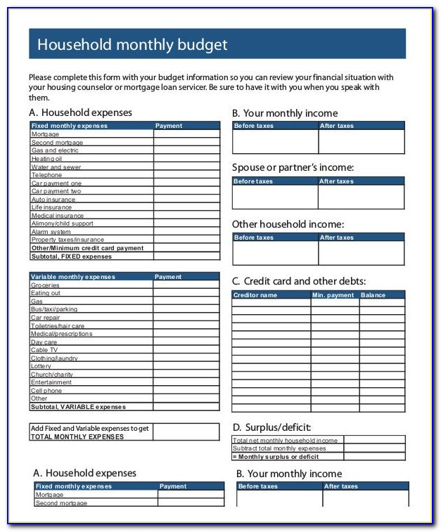 Household Expenses Template Microsoft