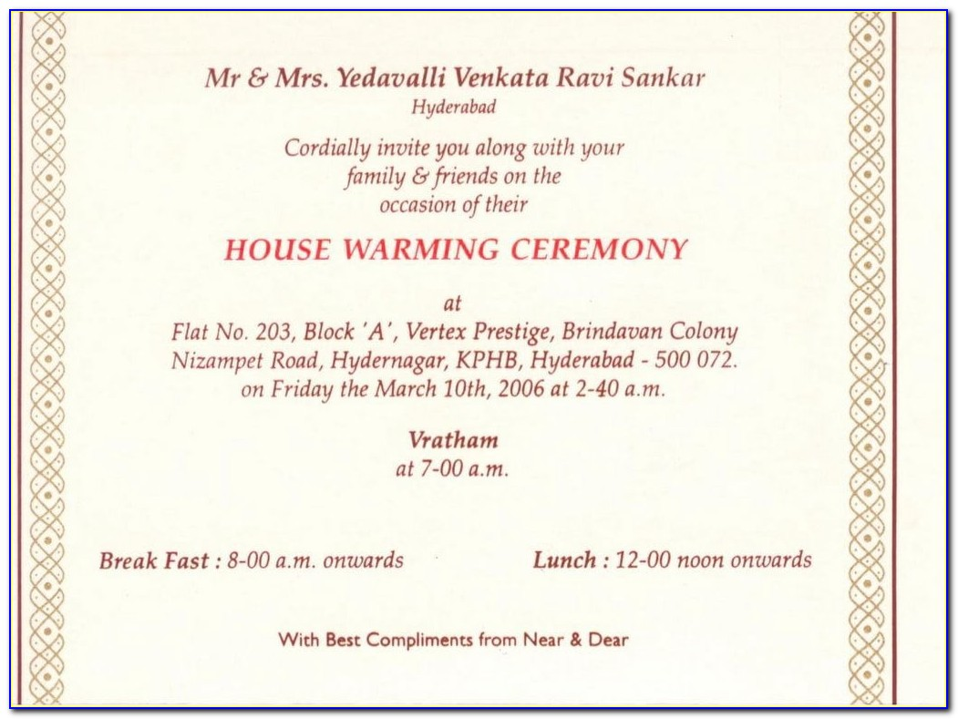 Housewarming Invitation Templates Indian