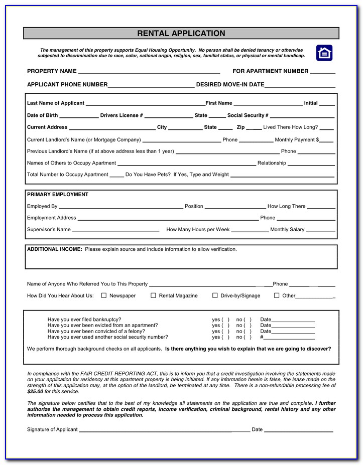 Housing Lease Agreement Form Free