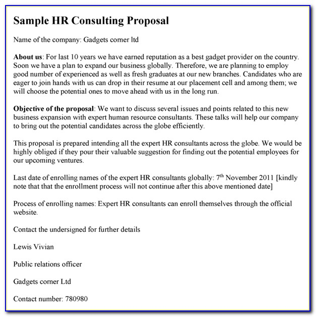 Hr Consulting Services Proposal Sample