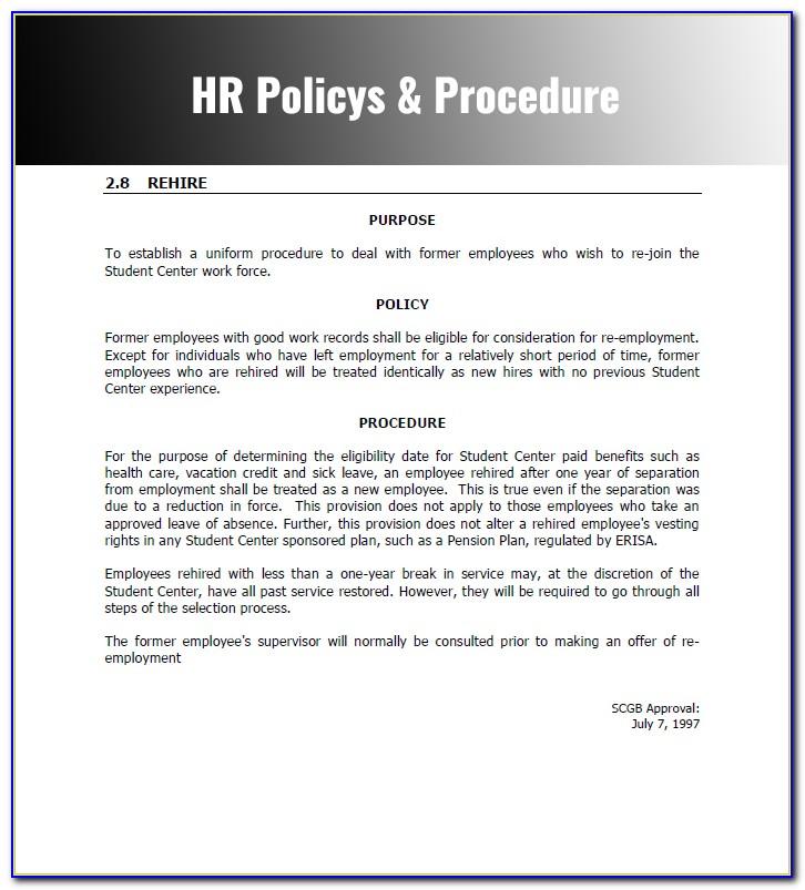 Hr Procedure Manual Example