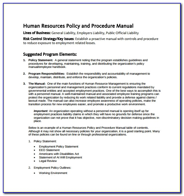 Hr Service Level Agreement Example