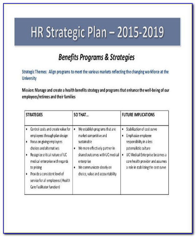 Hr Strategic Plan Examples