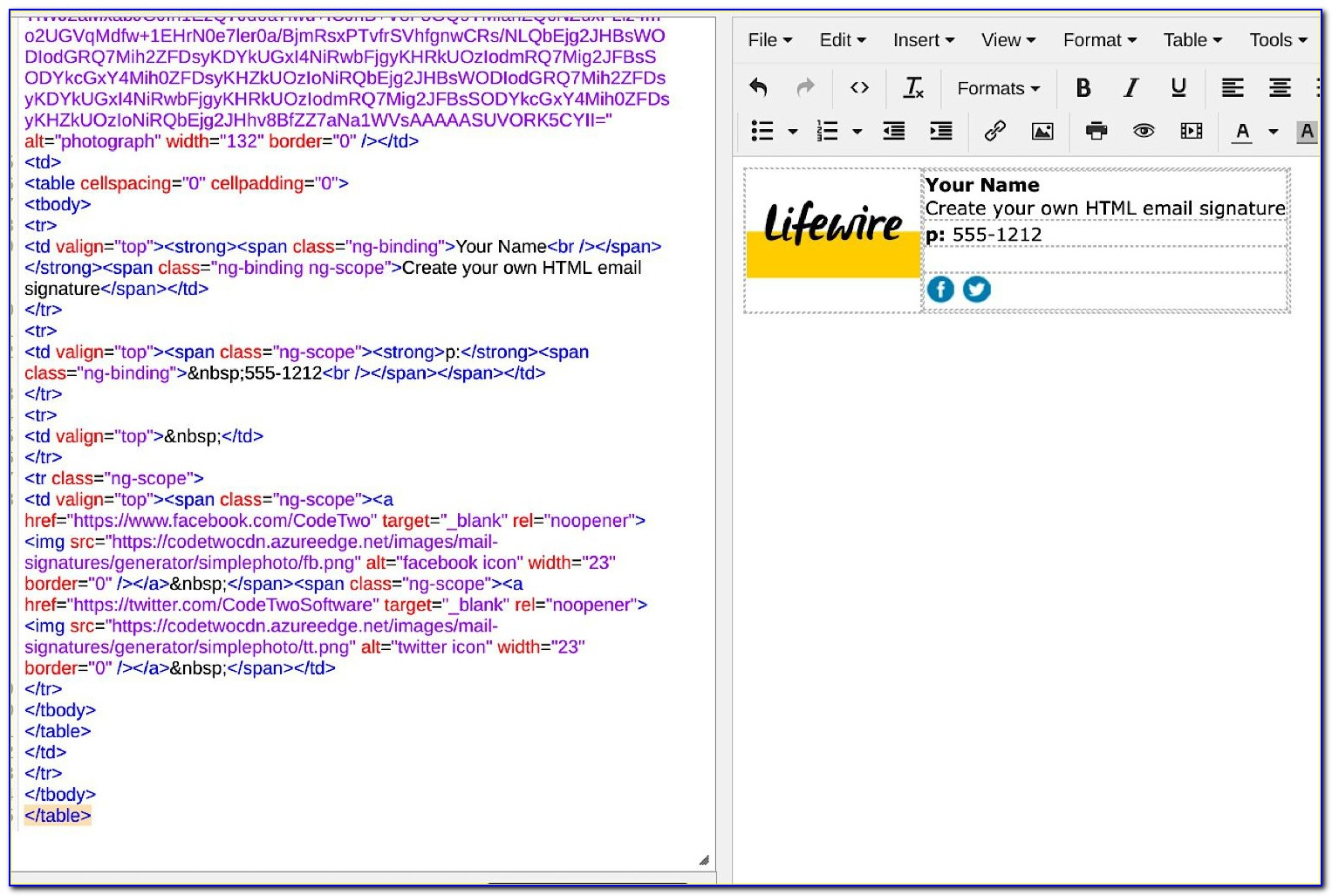 Html Email Signature Template Outlook