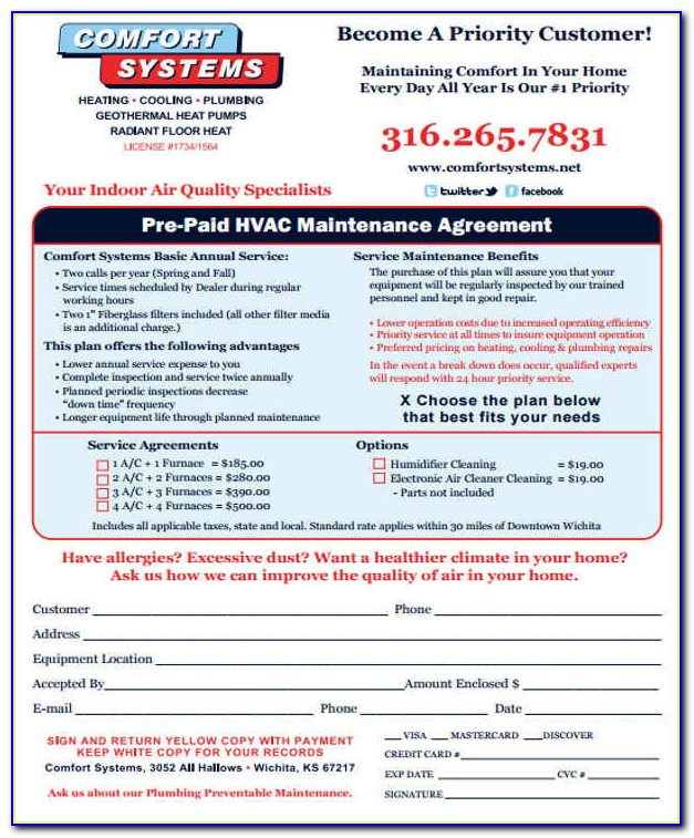 Hvac Maintenance Agreement Forms Free