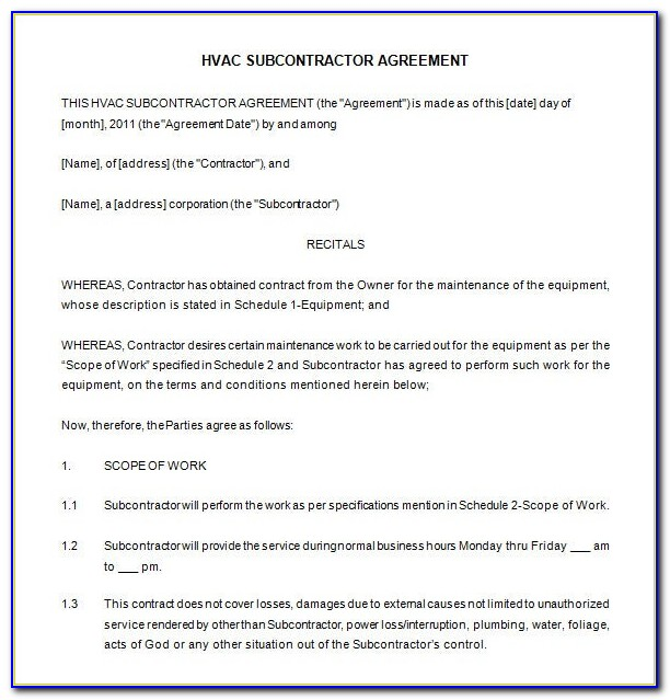 Hvac Maintenance Contract Template Free