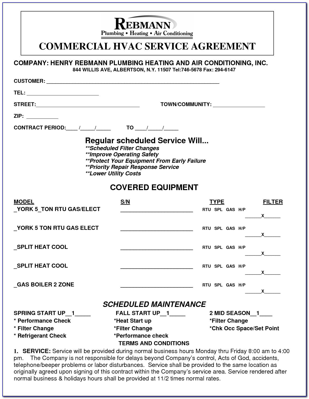 Hvac Preventive Maintenance Contract Template