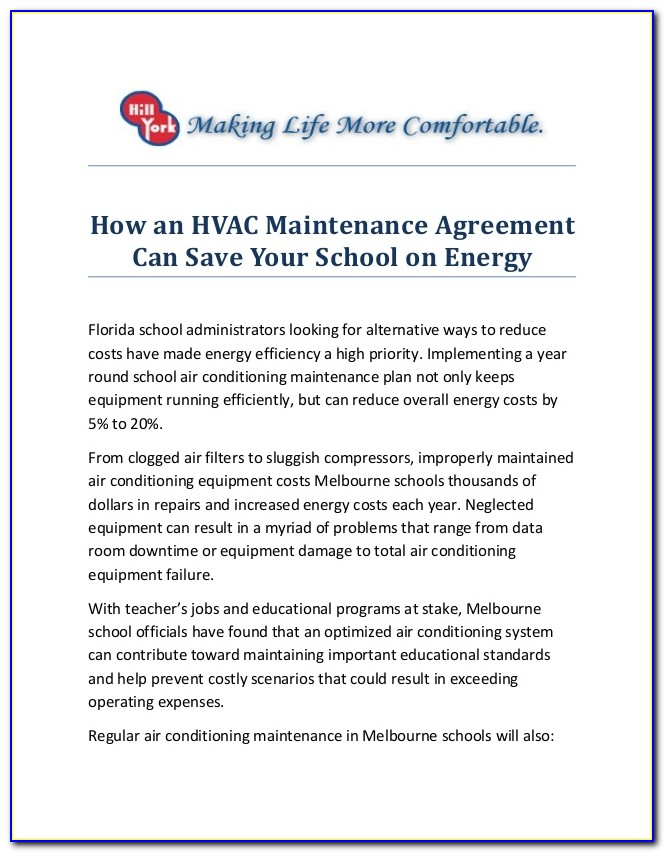 Hvac Service Agreement Forms