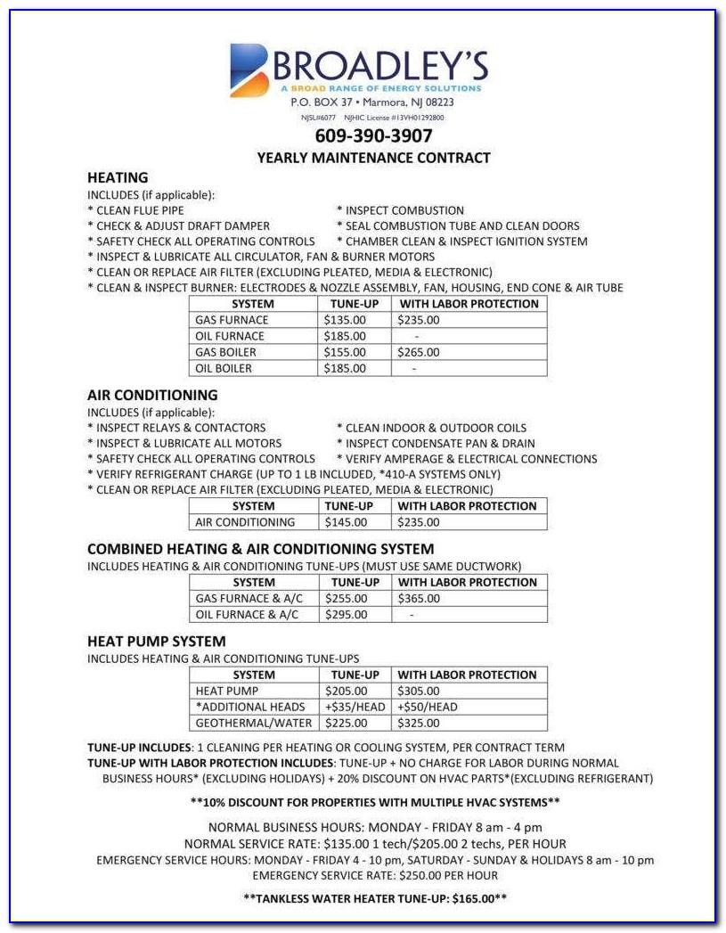 Hvac Service Contract Template Pdf