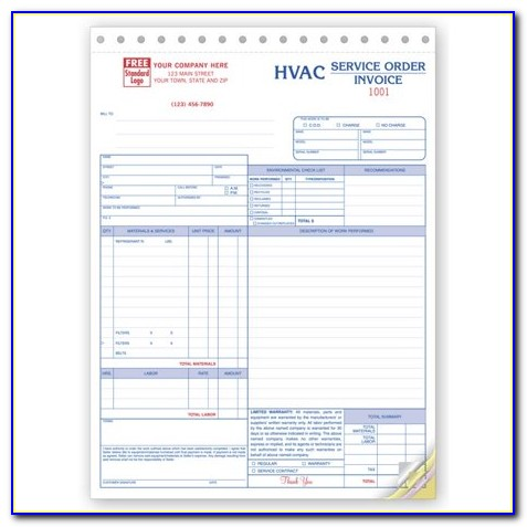 Hvac Service Work Order Forms