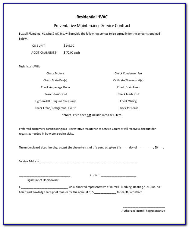 Hvac Service Work Order Template