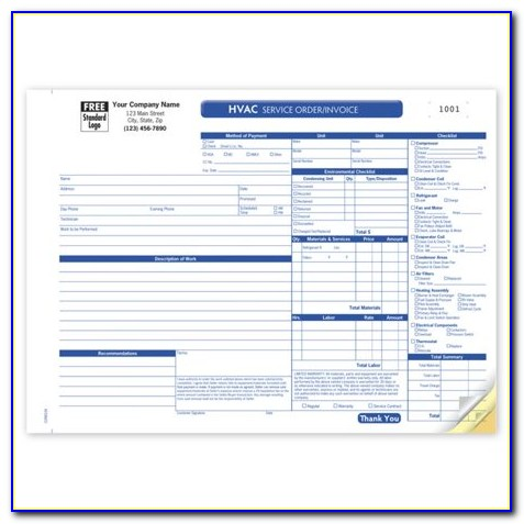 Hvac Work Order Forms Free