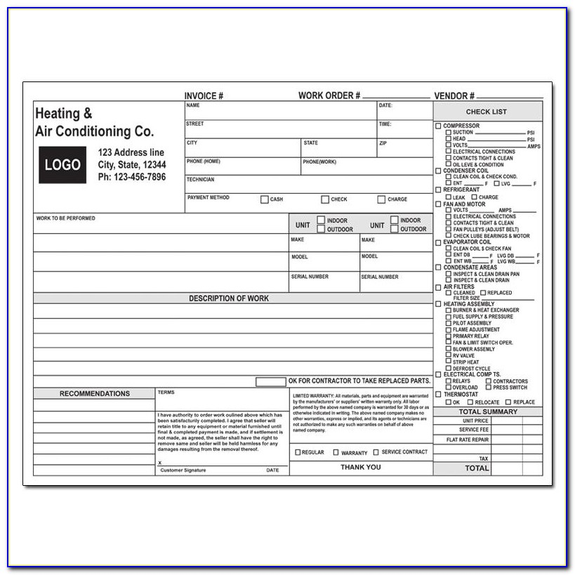 Hvac Work Order Template Free