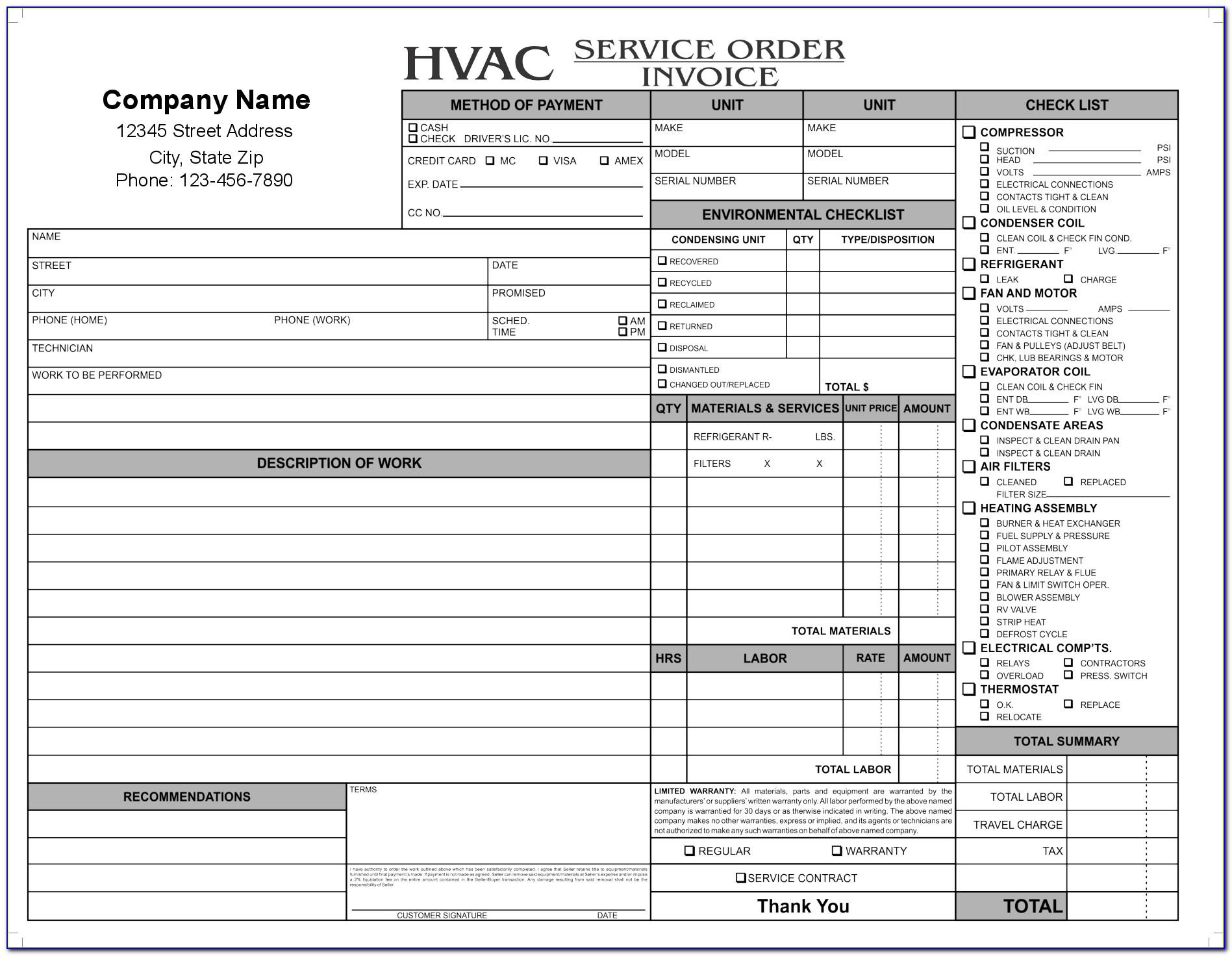 Hvac Work Order Template Pdf