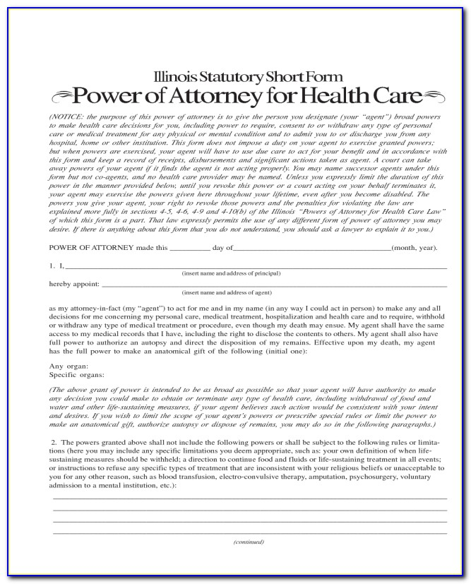 Illinois Health Care Power Of Attorney Form 2018