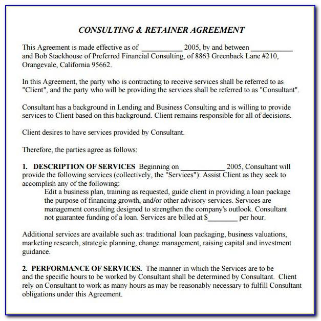 Immigration Consultant Retainer Agreement Sample