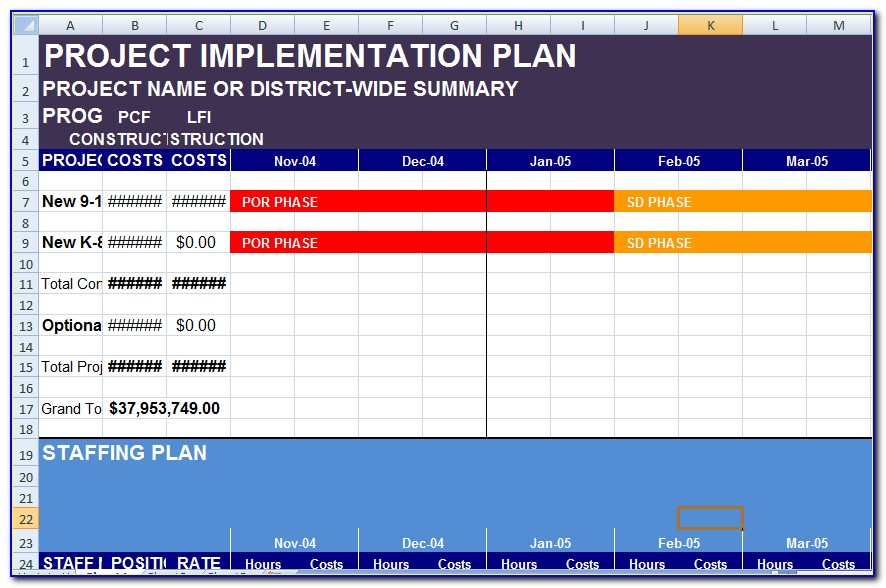 Implementation Plan Example Excel