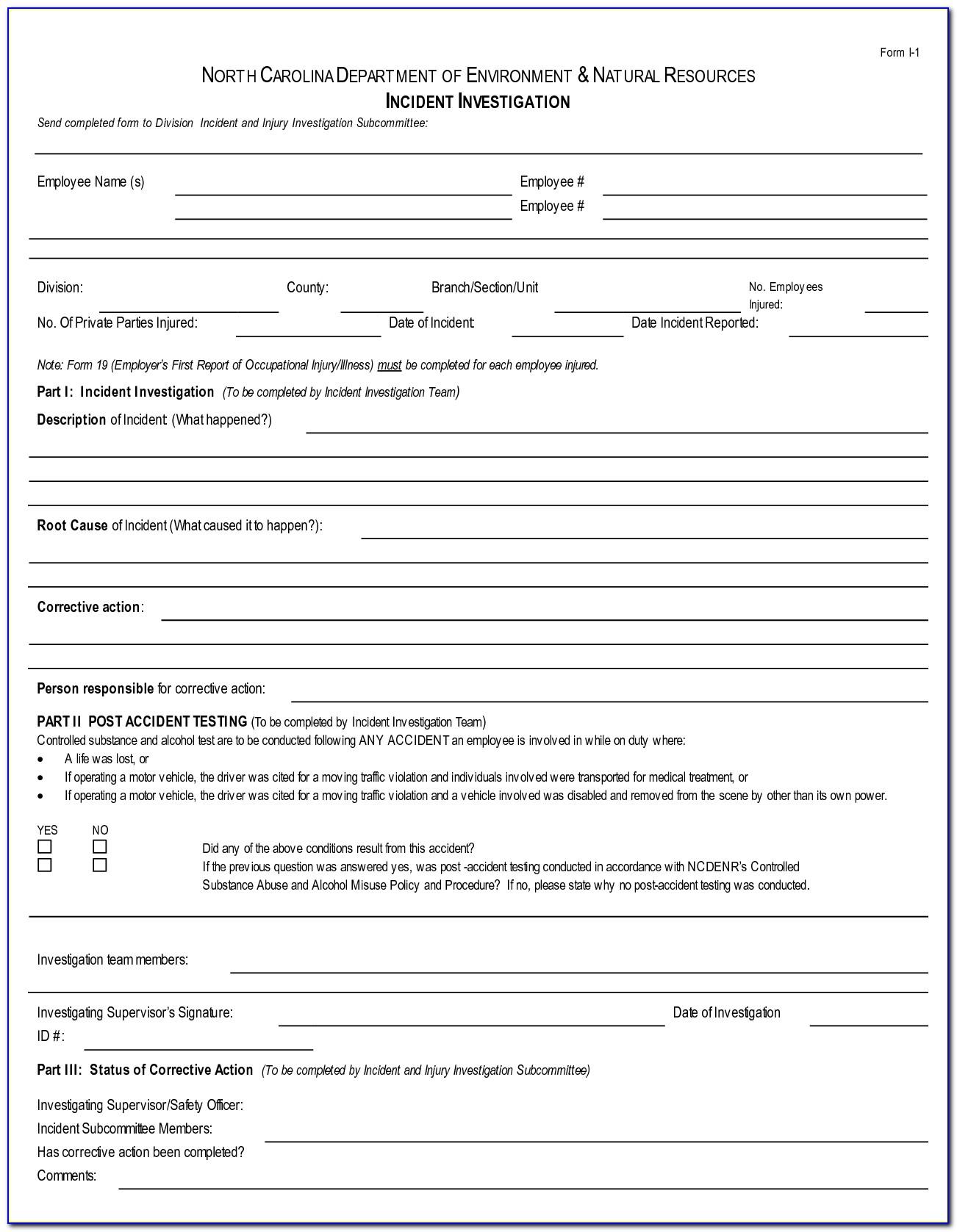 Incident Investigation Form Template