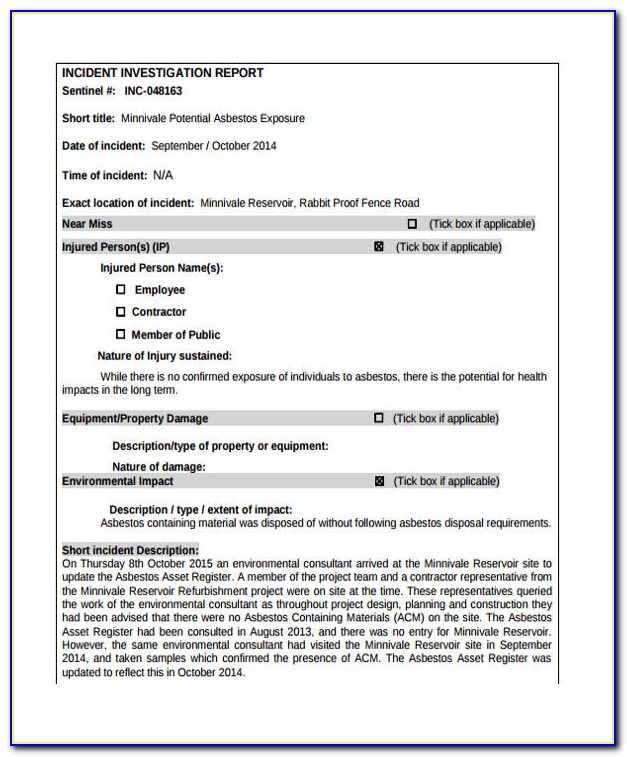 Incident Investigation Report Form
