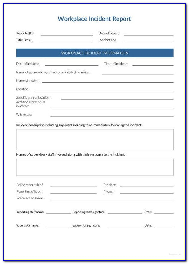 Incident Report Form Template Wa