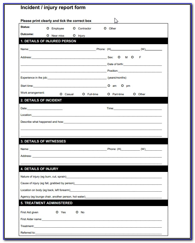 Incident Report Form Template Word Uk