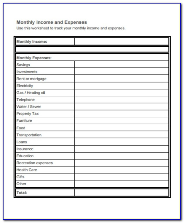 Income Expense Sheet Excel Template