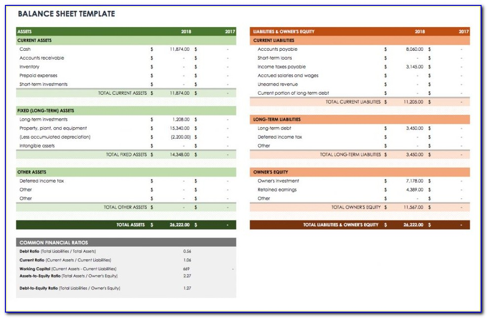 Income Statement And Balance Sheet Template Excel