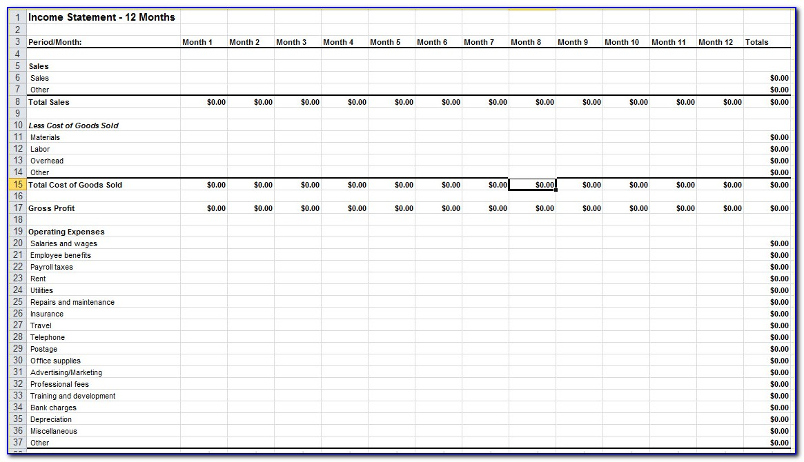 Income Statement Forecast Template Excel
