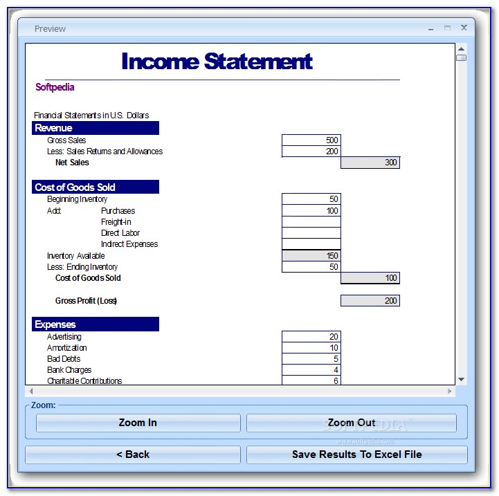 Income Statement Projection Template Excel