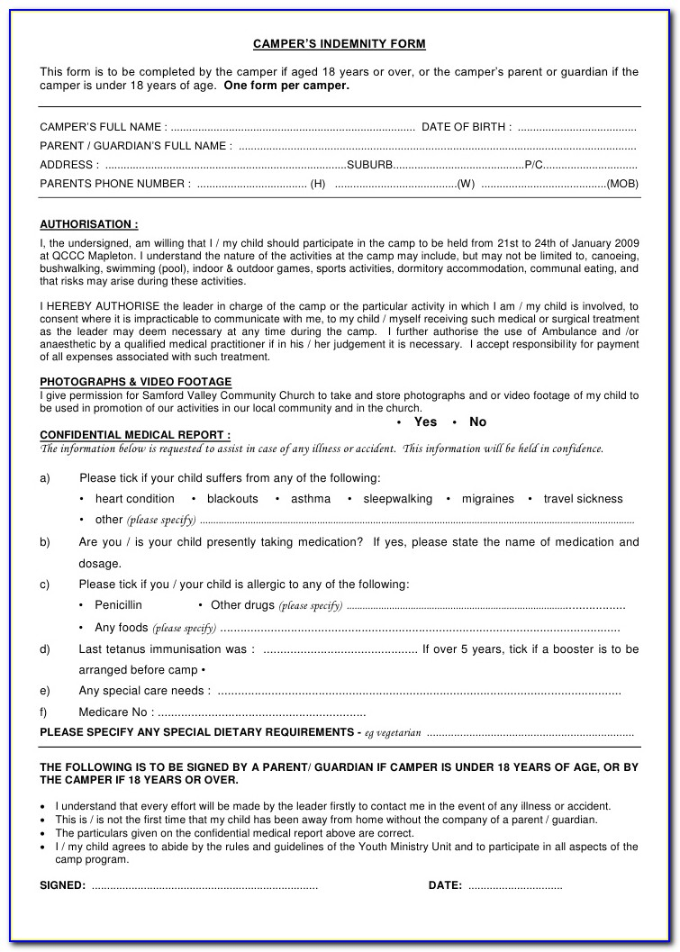 Indemnity Form Template Sports