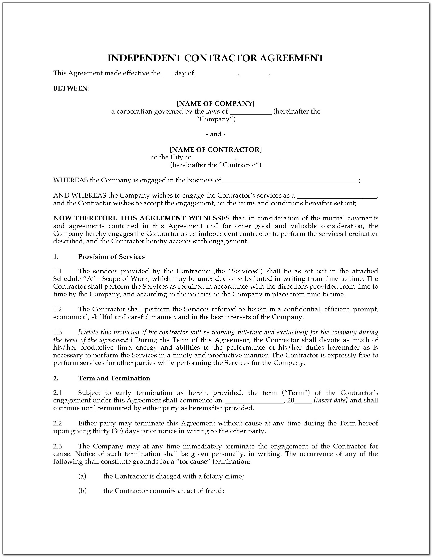 Independent Contractor Agreement Template Free Nz