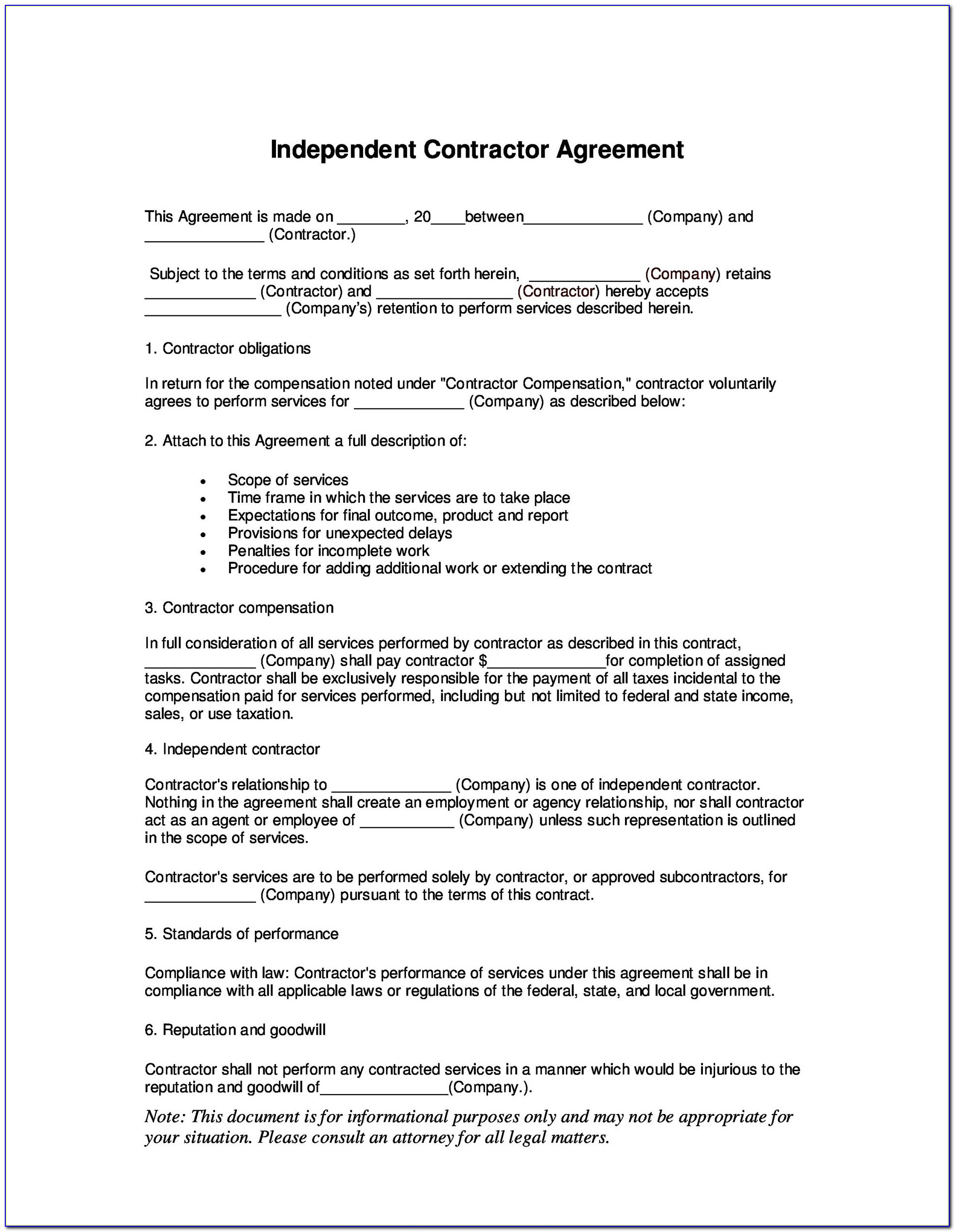 Independent Contractor Agreement Template Uk Free