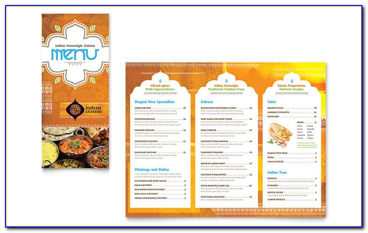 Indian Menu Templates Free Download