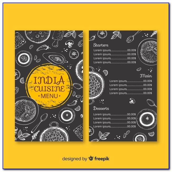 Indian Restaurant Menu Templates Word