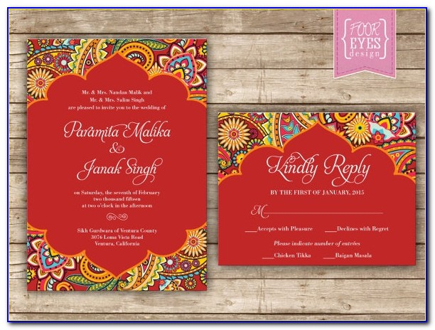Indian Wedding Menu Templates