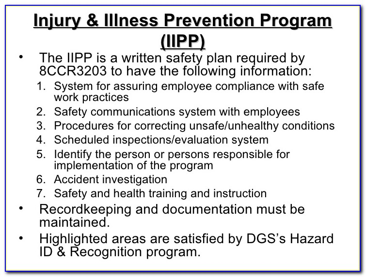 Injury And Illness Prevention Plan Template