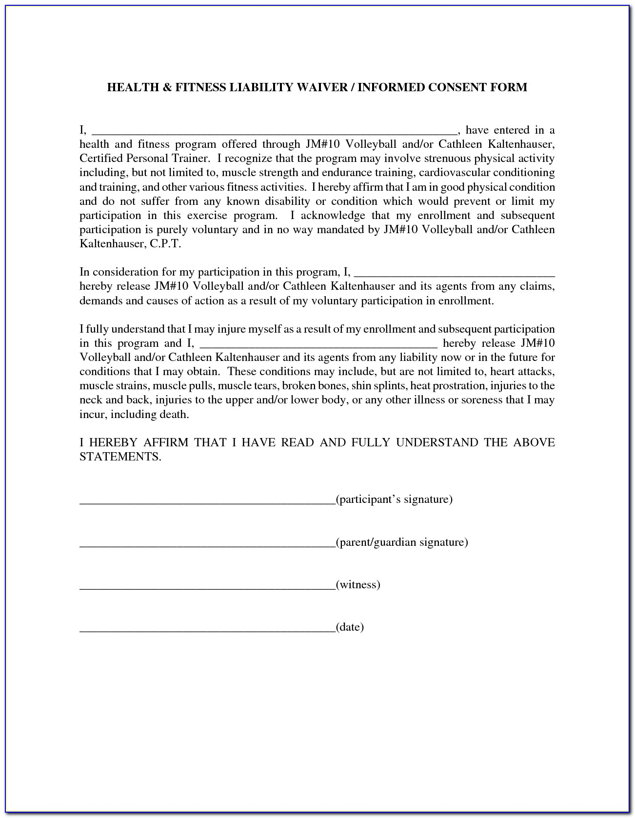Injury Waiver Form Template
