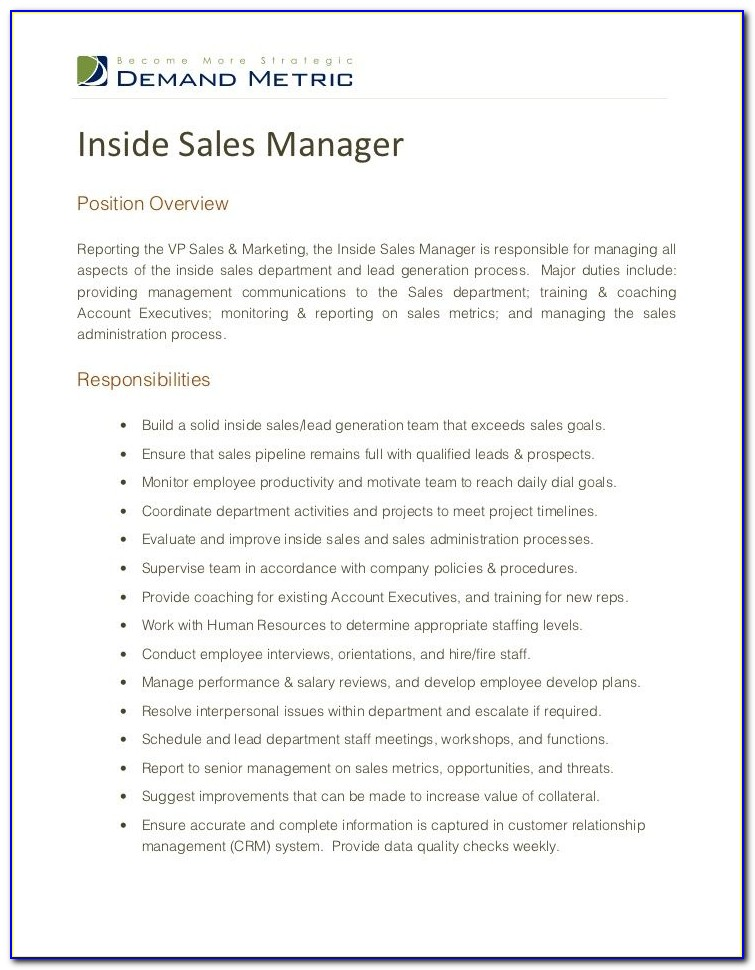 Inside Sales Manager Job Description Sample