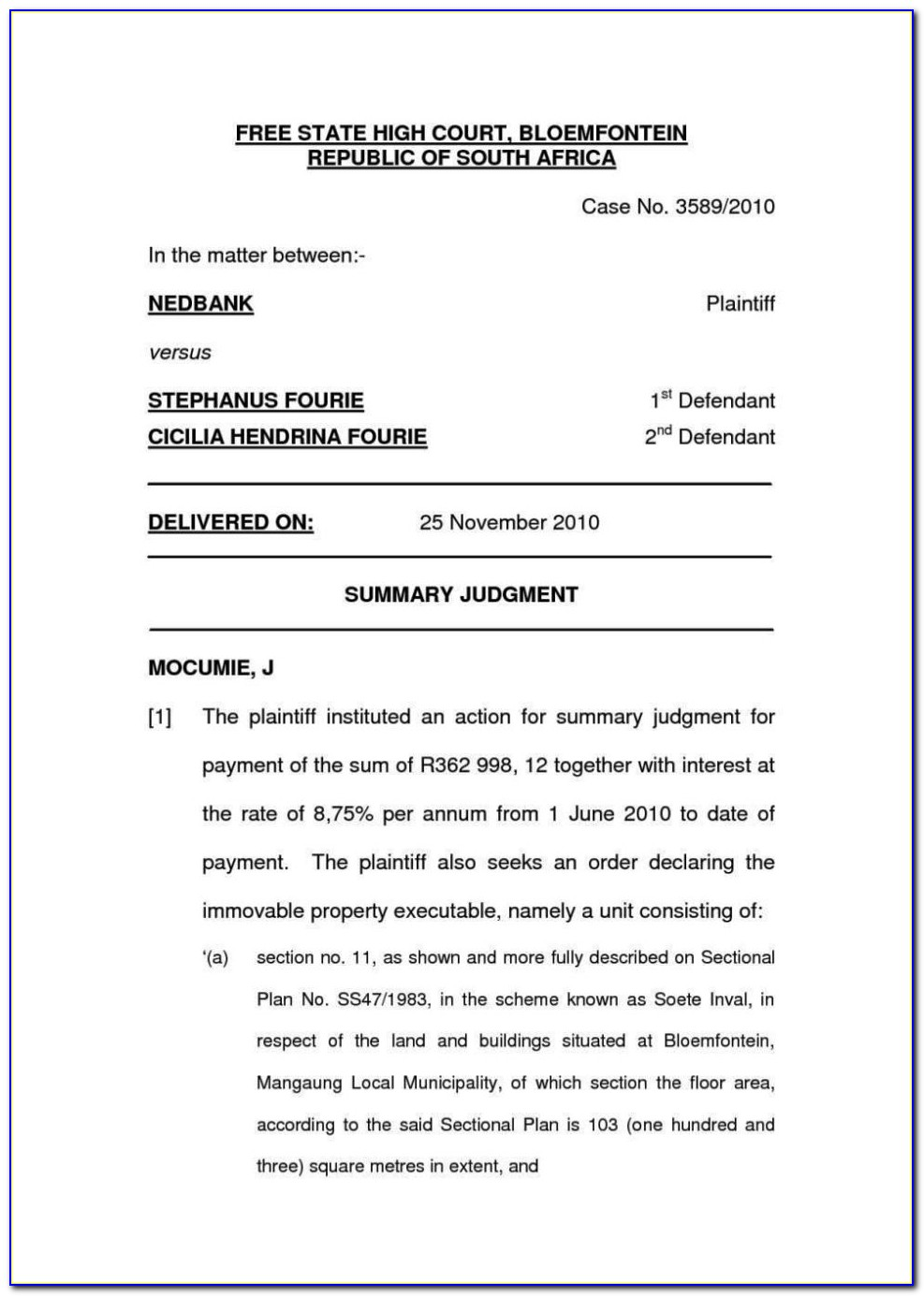 Installment Sale Agreement Template South Africa