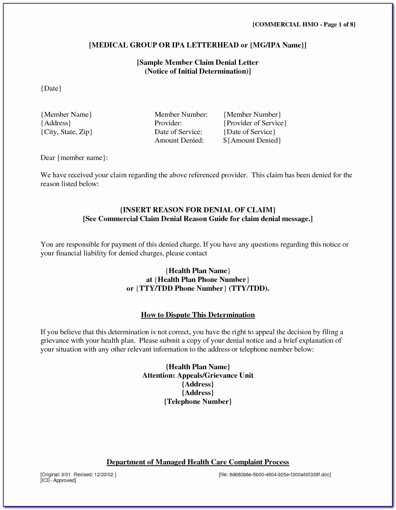 Insurance Appeal Letter Samples
