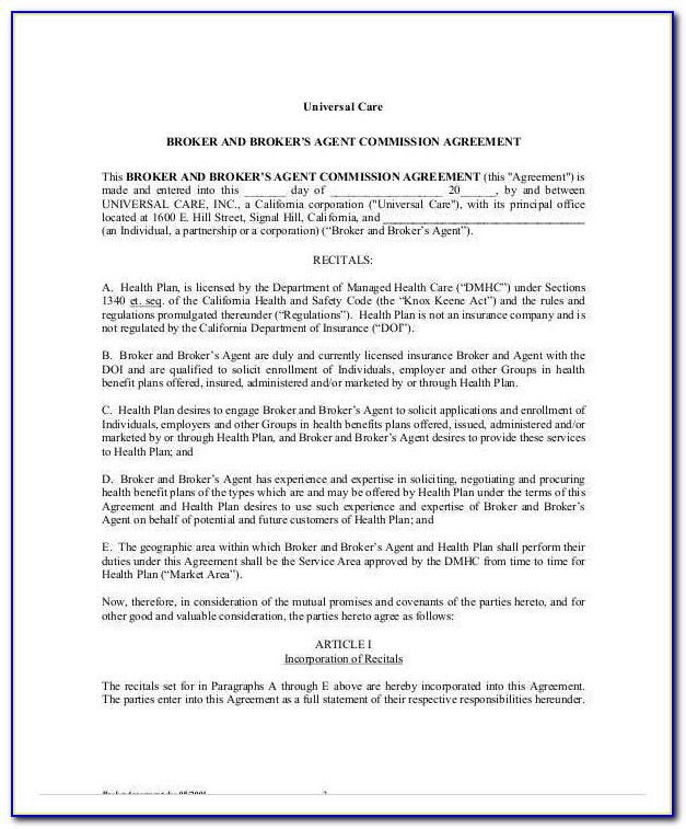 Insurance Broker Agreement Sample