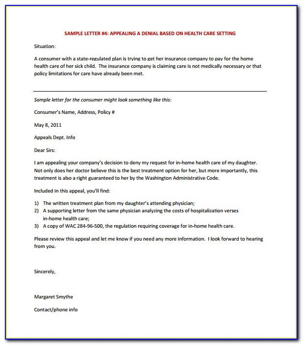 Insurance Claim Appeal Letter Template